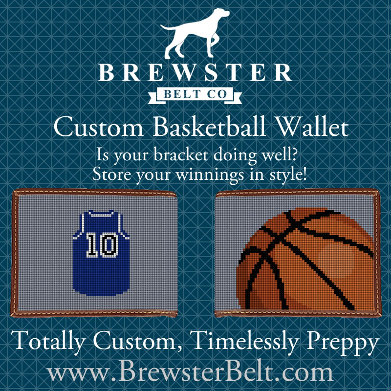 Brewster Belt Basketball Needlepoint Wallet