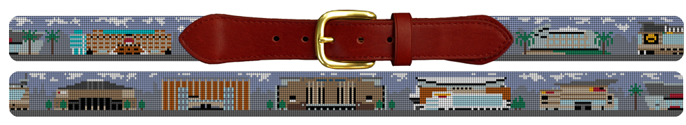 NBA Basketball Arenas Needlepoint Belt