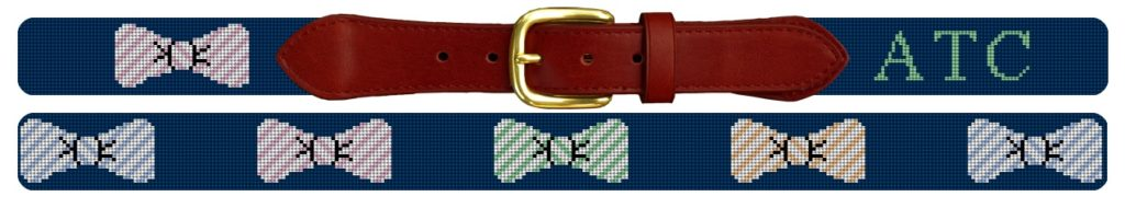 Pastel Seersucker Needlepoint Bow Tie Belt