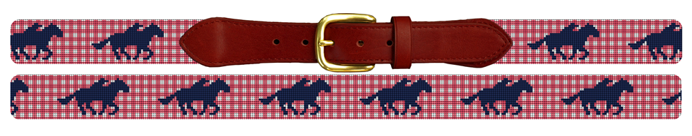 Gingham Kentucky Derby Needlepoint Belt