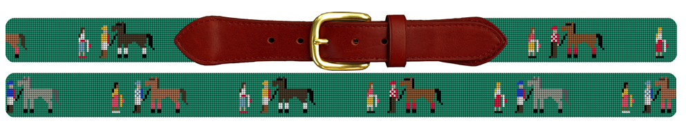 Walk Over Kentucky Derby Needlepoint Belt