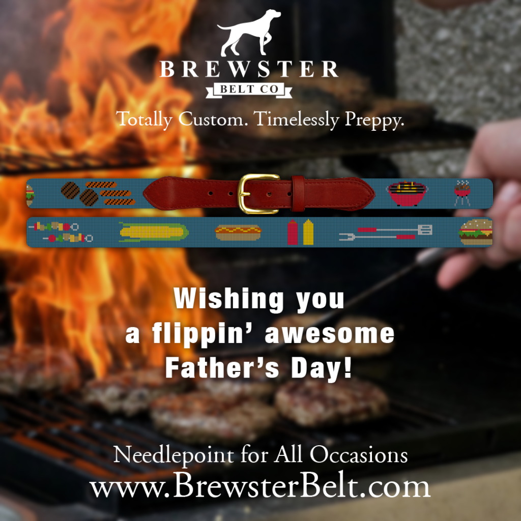 Personalized Fathers Day Gift BBQ Needlepoint Belt
