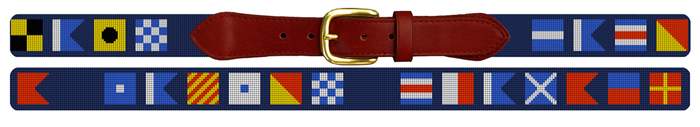 Maritime Signal Flag Needlepoint Sailing Belt