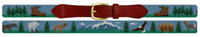 Mountain Hiking Needlepoint Belt
