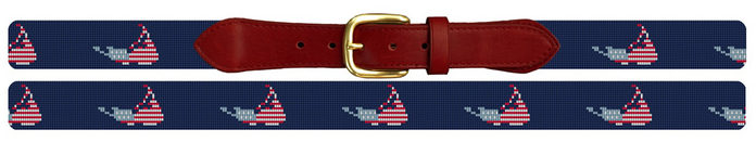 Nantucket Needlepoint Belt with American Flag