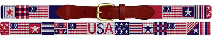 Fourth of July American Flag Needlepoint Belt