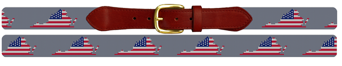 Virginia State American Flag Needlepoint Belt
