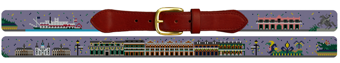 New Orleans Landmark Needlepoint Belt - a unique New Orleans gift for men