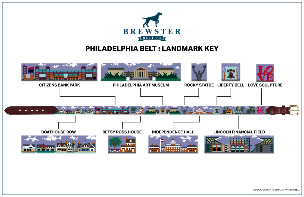 Philadelphia landmark needlepoint belt - Philly gift